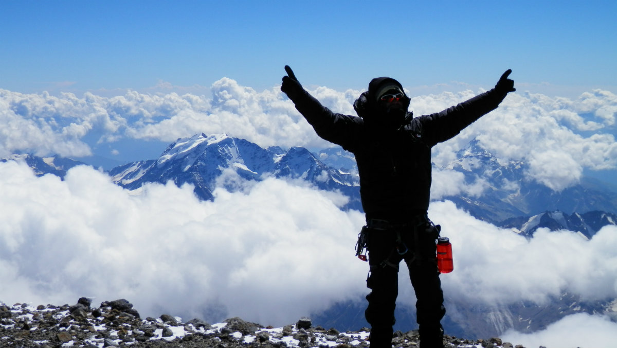At the summit of Mount Elbrus